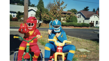 Henry and Harrison as Power Rangers.
