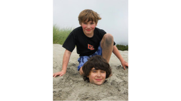 Hayden and Henry on one of their annual beach trips.